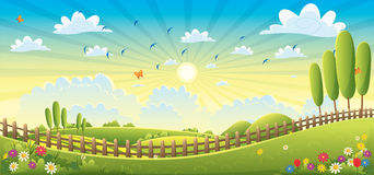 Landscape scene vector illustration Royalty Free Stock Photo
