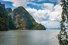 Landscape or scenery of cliffs mountain in Phang Nga Bay National Park royalty free stock image