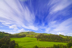 Landscape scenery of green valley with trees, hill and cloudy sky Royalty Free Stock Photo