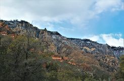 Landscape Scenery, Maricopa County, Oak Creek Canyon, Arizona, United States. Spring landscape scenery view of the mountains and area vegetation from Oak Creek stock images