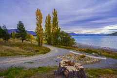 Landscape scenery of New Zealand during cloudy day. stock photography
