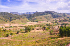 Landscape scenery in Northern Thailand. With hut in the foreground Royalty Free Stock Photos