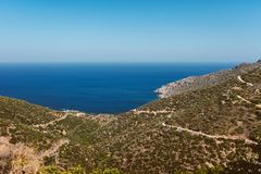landscape, Scenery of olive trees with the greek sea in background. Valley roads and beautiful landscapes Royalty Free Stock Image