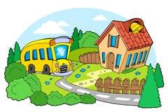 Landscape with school. Illustration