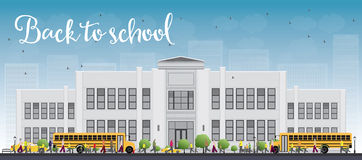 Landscape with school bus, school building and people Stock Photography