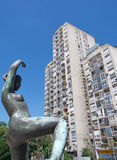 Landscape of sculpture of dancing girl and modern architecture of Belgrade, Serbia Royalty Free Stock Images