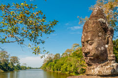 Landscape Sculpture. Statue at The Bridge to Bayon with River Stock Photography