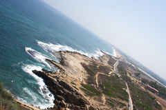 Landscape with sea. Mediterranean sea, Israel and Lebanon border stock images
