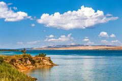 The landscape with sea bay and with the island of Pag. Stock Photography