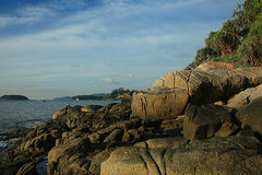 Landscape sea bay with  mountains stones Royalty Free Stock Image