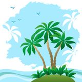 Landscape, Sea Beach with Palms Stock Image