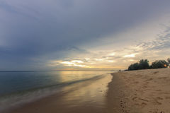 Landscape of sea beach and sky at dawn ; Songkhla Thailand. Slow shutter speeds royalty free stock images