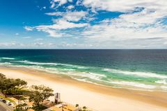 Landscape of the sea, blue sky, sandy beach in the Gold Coast Australia stock image