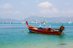Landscape the sea, the boat in a bay of  a chalong Royalty Free Stock Photography