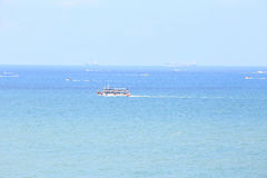 Landscape of sea with boat and blue sky, Pattaya Thailand. As nature background Stock Photo
