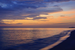 Landscape of sea and cloudy sky at dawn ; Songkhla Thailand. (slow shutter speeds royalty free stock photo