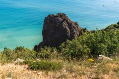 Landscape of Black Sea coast in a Crimea. stock photo