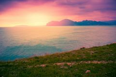 Landscape with sea coast and mountains royalty free stock photos