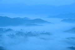 Landscape sea of fog at the mountains Royalty Free Stock Photo