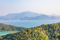 Landscape, sea, and forest. Asia, Autumn stock image