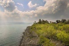 Landscape of Sea of Galilee  Kinneret  near Capernaum, Israel Royalty Free Stock Image