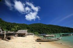 Landscape of sea Gypsy, Morgan, village and boats Stock Photo