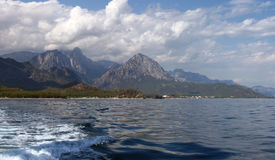Landscape of sea and mountains. Turkish coastline. View from the sea Stock Image