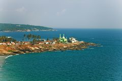 Landscape with the sea and the Muslim temple Royalty Free Stock Images