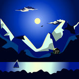 Landscape of the sea at night idyllic. Night seascape. Moon and clouds on the dark blue sky. The moon illuminates the tops of the mountains. Dark Sea. On the Stock Photo