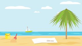 Landscape of sea of sandy tropical beach with palm tree on clear summer day. children`s bucket and shovel in the sand. Blanket and a book on sand of beach Stock Image