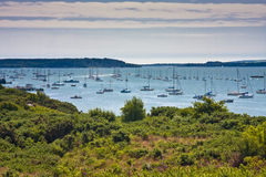 Landscape sea sky boats Royalty Free Stock Images
