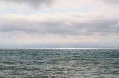 Landscape sea and sky on a cloudy day. stock photo