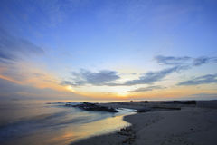 Landscape of sea and sky at dawn ; Songkhla Thailand. Slow shutter speeds royalty free stock image