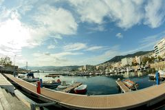 Cloudy landscape at the harbor stock photography