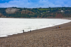 Landscape sea sky pebbles. Fishing along the somerset coast sea and sky Royalty Free Stock Images