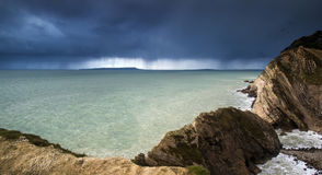 Landscape of sea storm approaching land Royalty Free Stock Photos