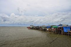 Landscape of the sea and storm is coming at Ang Sila fish market Stock Photo