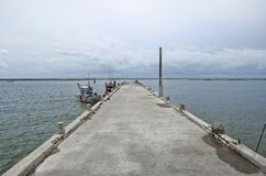 Landscape of the sea and storm is coming at Ang Sila fish market Royalty Free Stock Image