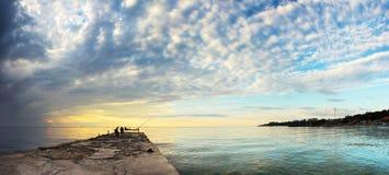 Landscape sea sunrice golden sky Stock Images