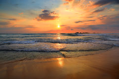 Landscape with sea sunset on beach Royalty Free Stock Photos