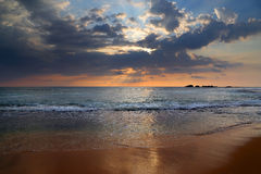Landscape with sea sunset on beach Royalty Free Stock Photo