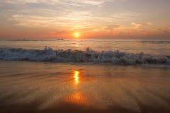 Landscape of sea sunset at the seashore Stock Photos