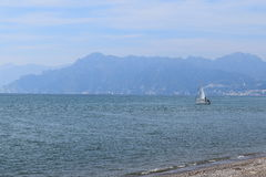 Landscape. Sea landscape taken from a beach, in the background lacitta 'of Salerno destination for both tourism Royalty Free Stock Image