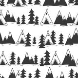 Seamless pattern with fir trees, mountains, wigwams vector illustration