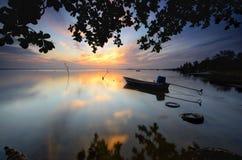 Sunrise at jubakar beach, tumpat kelantan malaysia royalty free stock image
