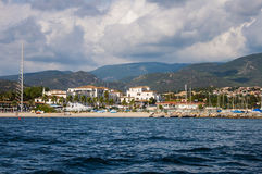 Landscape of seashore with beautiful hills and hotels in Sardinia Italy Sardegna. Landscape of seashore with beautiful hills and hotels in Sardinia Italy stock photography