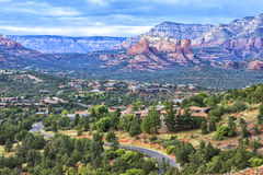 Landscape of Sedona, Arizona, USA. Landscape of Sedona from the Airport Overlook place. Dramatic afternoon sky just before heavy thunderstorm. Sedona is an stock images
