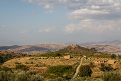 Landscape seen around the archaeological site of Morgantina Stock Photos