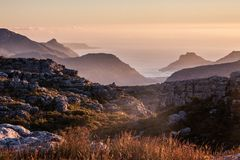 View from the top of Table mountain Cape Town, South Africa. stock photos