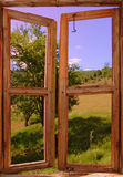 Landscape seen from a window Royalty Free Stock Photo